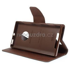 Kožené peňaženkové puzdro na Nokia Lumia 830 - čierné/hnedé - 3