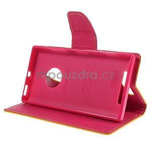 Kožené peňaženkové puzdro na Nokia Lumia 830 - žlté - 3