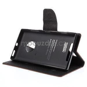 Kožené peňaženkové puzdro na Nokia Lumia 830 - hnedé/čierné - 3