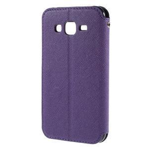PU kožené puzdro s okienkom pro Samsung Galaxy J5 - fialové - 3