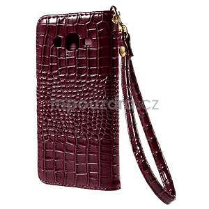 PU kožené puzdro s imitací krokodýlí kože Samsung Galaxy J5 - tmavo červené - 3