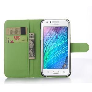 Zelené zapínací peněženkové pouzdro na Samsung Galaxy J5 - 3