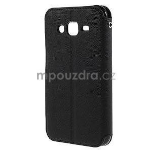 PU kožené pouzdro s okýnkem pro Samsung Galaxy J5 - černé - 3