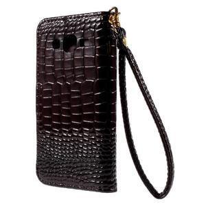 PU kožené pouzdro s imitací krokodýlí kůže Samsung Galaxy J5 - tmavě hnědé - 3