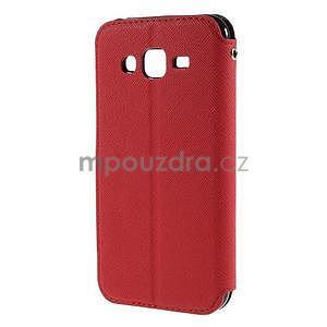 PU kožené puzdro s okienkom pro Samsung Galaxy J5 - červené - 3