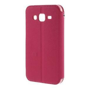 PU kožené puzdro s okienkom pro Samsung Galaxy J5 - rose - 3