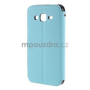 PU kožené pouzdro s okýnkem pro Samsung Galaxy J5 - světle modré - 3