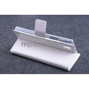 Peňaženkové kožené puzdro na Lenovo P70 - biele - 3