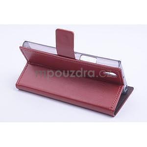 Peňaženkové kožené puzdro na Lenovo P70 - hnedé - 3