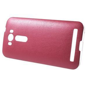 Gélový obal s jemným koženkovým plátem pre Asus Zenfone 2 Laser ZE500KL - rose - 3