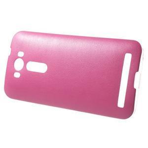 Gélový obal s jemným koženkovým plátem na Asus Zenfone 2 Laser ZE500KL  - růžový - 3