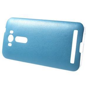 Gélový obal s jemným koženkovým plátem pre Asus Zenfone 2 Laser ZE500KL - modrý - 3