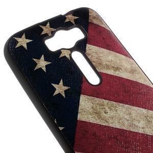 Gélový obal s koženkovým chrbtom na Asus Zenfone 2 Laser - US vlajka - 3