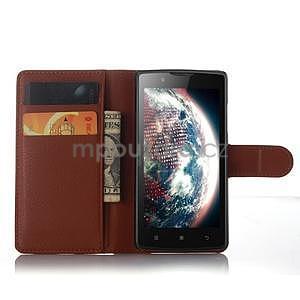 Peňaženkové puzdro pre mobil Lenovo A2010 - hnedé - 3
