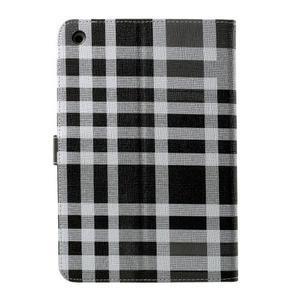 Kockované puzdro na Apple iPad Mini 3, iPad Mini 2 a iPad Mini - čierne - 3
