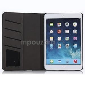 Koženkové puzdro s imitáciou dreva na iPad Mini 3, iPad Mini 2, iPad mini - tmavošedé - 3