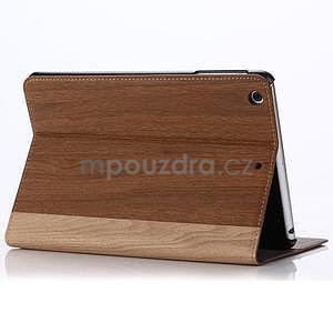 Koženkové puzdro s imitáciou dreva na iPad Mini 3, iPad Mini 2, iPad mini - hnedé - 3