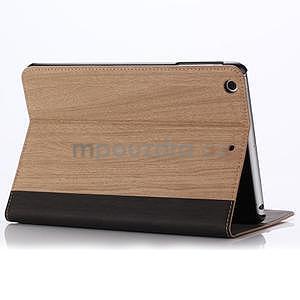 Koženkové puzdro s imitáciou dreva na iPad Mini 3, iPad Mini 2, iPad mini - svetlohnedé - 3