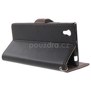 Supreme peňaženkové puzdro pre Lenovo P70 - čierné/hnedé - 3