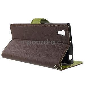 Supreme peňaženkové puzdro pre Lenovo P70 - hnedé/zelené - 3