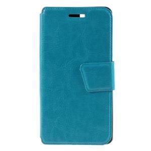 Peňaženkové PU kožené puzdro pre mobil Doogee X5 - modré - 3