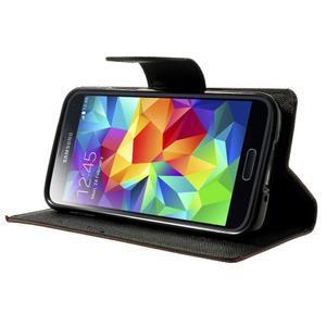 Diary PU kožené puzdro pre Samsung Galaxy S5 mini - hnedé - 3