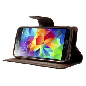 Diary PU kožené puzdro pre Samsung Galaxy S5 mini - čierne/hnedé - 3