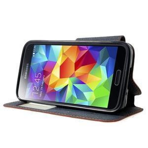 Pěněženkové pouzdro s okýnkem pro Samsung Galaxy S5 mini -  oranžové - 3