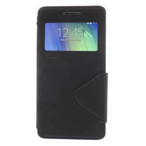 Štýlové puzdro s okienkom pre Samsung Galaxy A5 - čierné - 3