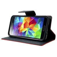 Diary PU kožené puzdro pre Samsung Galaxy S5 mini - červené - 3/7