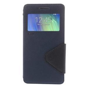 Stylové puzdro s okýnkem na Samsung Galaxy A5 - tmavo modré - 3