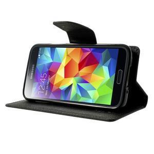 Diary PU kožené pouzdro na Samsung Galaxy S5 mini - černé - 3