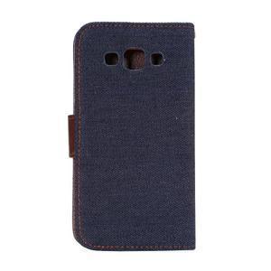 Jeans peňaženkové puzdro na Samsung Galaxy note 3 - černomodré - 3