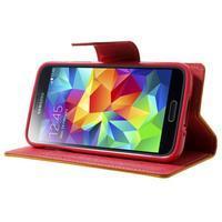 Diary PU kožené puzdro pre Samsung Galaxy S5 mini - žlutooranžové - 3/7