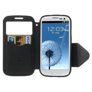 Peňaženkové puzdro s okýnkem pre Samsung Galaxy S3 / S III - čierné - 3