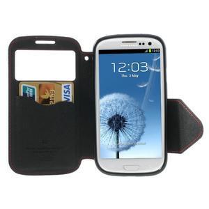 Peňaženkové puzdro s okienkom pre Samsung Galaxy S3 / S III - červené - 3