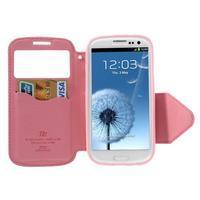 Peňaženkové puzdro s okýnkem pre Samsung Galaxy S3 / S III - rose - 3/7