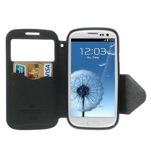 Peňaženkové puzdro s okýnkem pre Samsung Galaxy S3 / S III - tmavo modré - 3