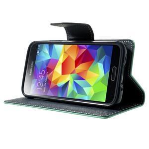 Diary PU kožené puzdro pre Samsung Galaxy S5 mini - azúrové - 3