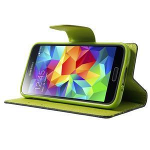 Diary PU kožené puzdro pre Samsung Galaxy S5 mini - tmavomodré - 3