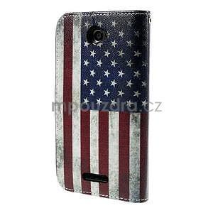 Koženkové puzdro pre mobil Sony Xperia E4 - US vlajka - 3