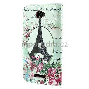 Koženkové puzdro pre mobil Sony Xperia E4 - Eiffelova veža - 3