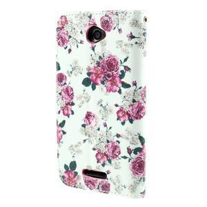Koženkové puzdro pre mobil Sony Xperia E4 - ruže - 3