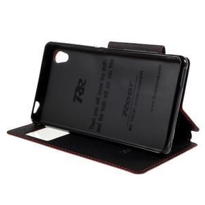 Peňaženkové puzdro s okienkom pre Sony Xperia M4 Aqua - červené - 3