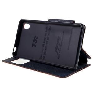 Peňaženkové puzdro s okienkom pre Sony Xperia M4 Aqua - oranžové - 3