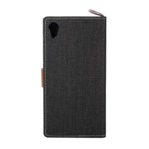 Jeans peněženkové pouzdro na mobil Sony Xperia M4 Aqua - černé - 3