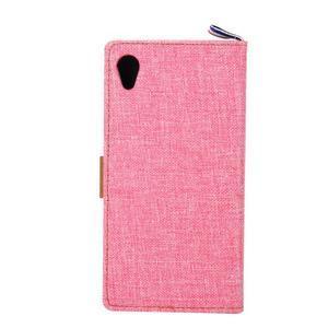 Jeans peněženkové pouzdro na mobil Sony Xperia M4 Aqua - růžové - 3