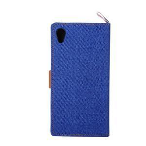 Jeans Peňaženkové puzdro pre mobil Sony Xperia M4 Aqua - modré - 3