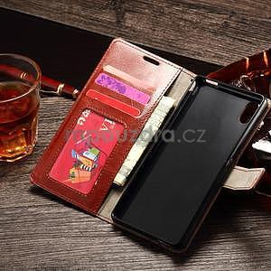 Koženkové pouzdro Sony Xperia M4 Aqua - hnědé - 3