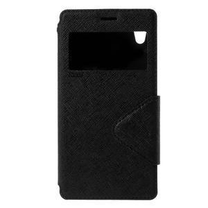 Peněženkové pouzdro s okýnkem pro Sony Xperia M4 Aqua - černé - 3